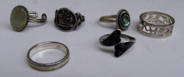 Selection of mixed silver + white metal rings