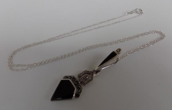 Art Deco silver jet & marcasite pendant on silver chain