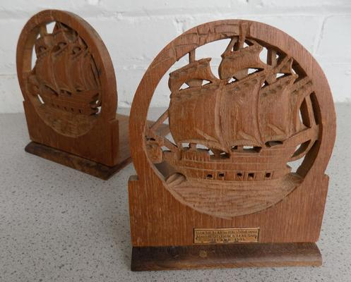 Pair of bookends, teak from  HM Iron Duke Admiral Jellico's flag, Jutland 1916
