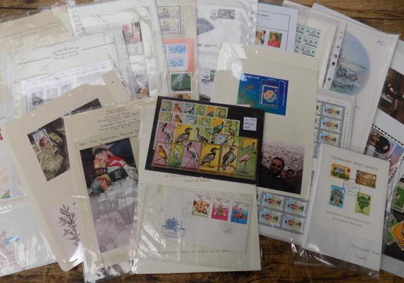 Box of stamps inc mint sheets, first day covers, album sheets etc