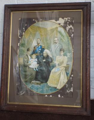 Large oak framed print of Queen Victoria & family