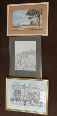 Selection of 3 pictures incl. pencil drawing of Whitby