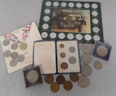 Selection of coins inc crowns, 50p's & Commonwealth