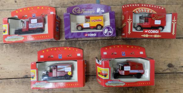 Assortment of Royal Mail & Cadbury boxed vans x 5