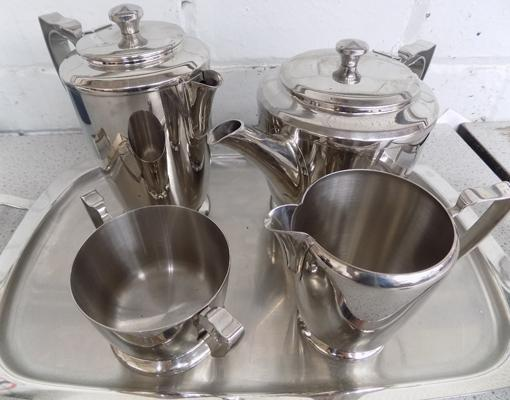 Old Hall stainless steel Balmoral tea set with tray