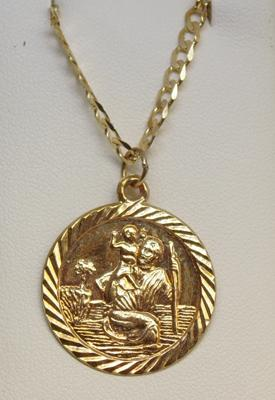 9ct Gold chain & St Christopher pendant 18 inch chain