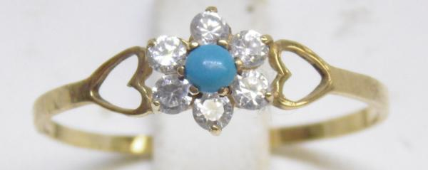 9ct Gold white stone & turquoise ring size Y 1/2