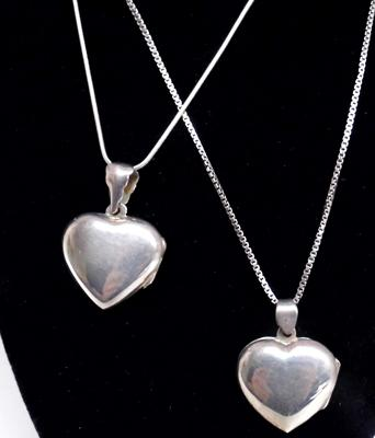 2 sterling silver heart lockets & chains