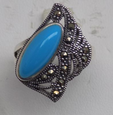 Art Nouveau silver & blue stone set ring