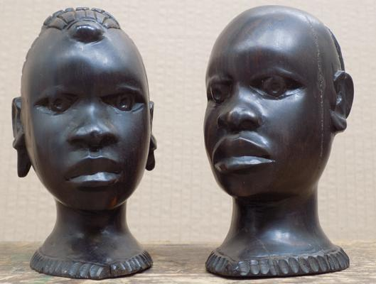 Pair of Nigerian ironwood heads