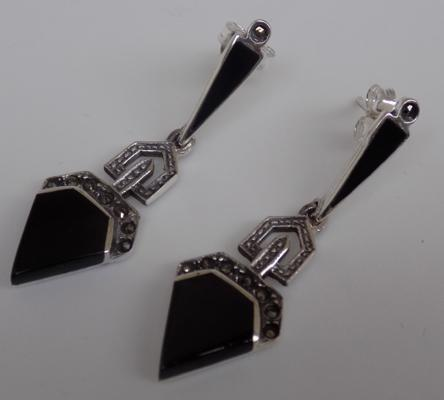 Pair of Art Deco silver jet & marcasite earrings
