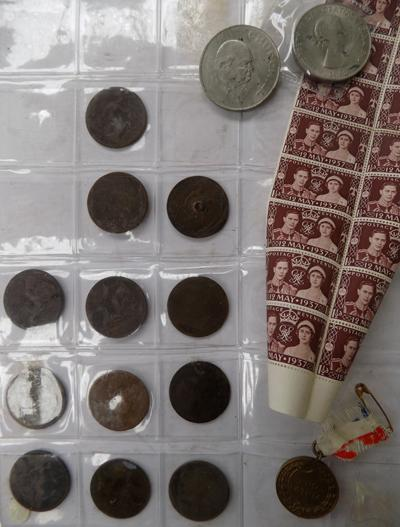 Early mix of Victorian pennies & stamps etc...