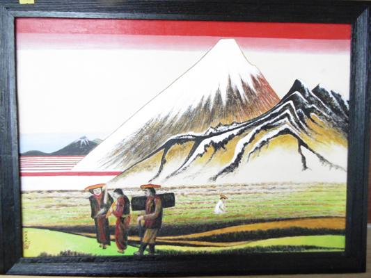 Large framed oil on board, signed by exhibited artist - Wadsworth Smith - Mount Fuji, Japan - 24 inches x 18 inches