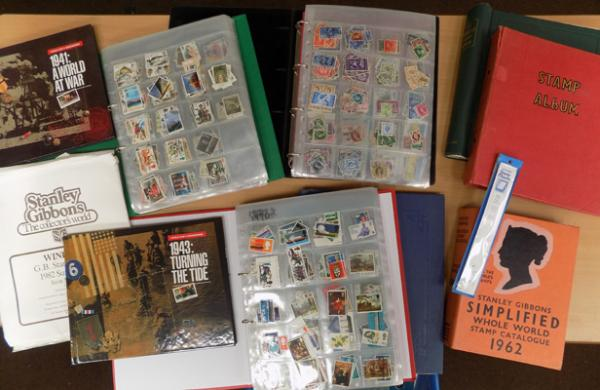 Box of stamps - albums & FDCs etc...