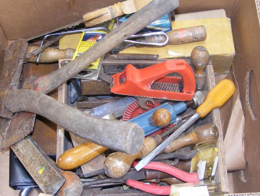 Box of mixed hand tools