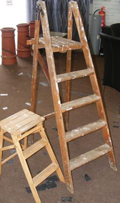 2 Sets of vintage wooden stepladders