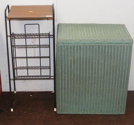 Lloyd Loom vintage laundry basket & retro metal magazine stand