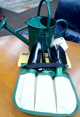 New gardening set with metal watering can