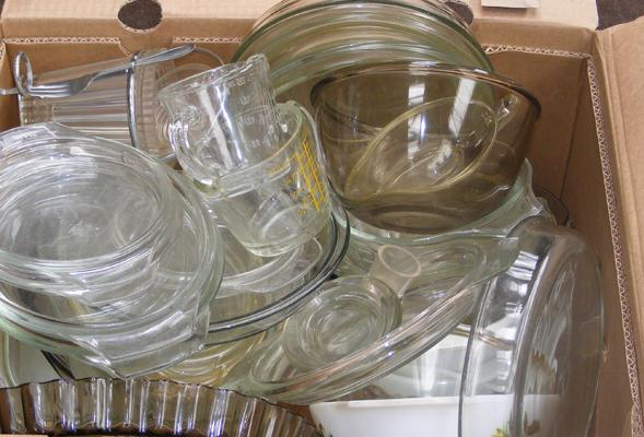 Large box of glass Pyrex