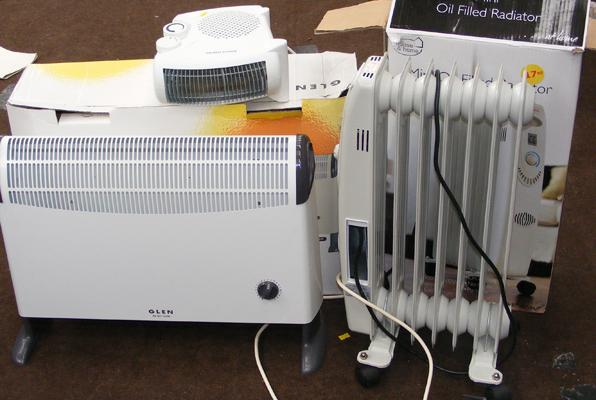 Glen 2kw convector heater, mini oil filled radiator & fan heater all w/o