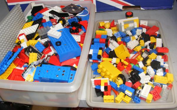 Box of vintage Lego