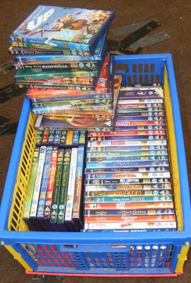 Box of Disney DVDs
