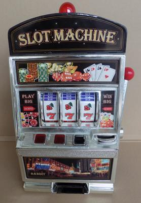 Toy desk top slot machine - approx. 15 inches high