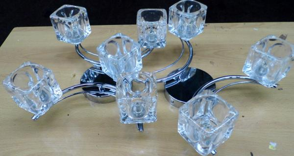 2 glass cube retro style light pendants