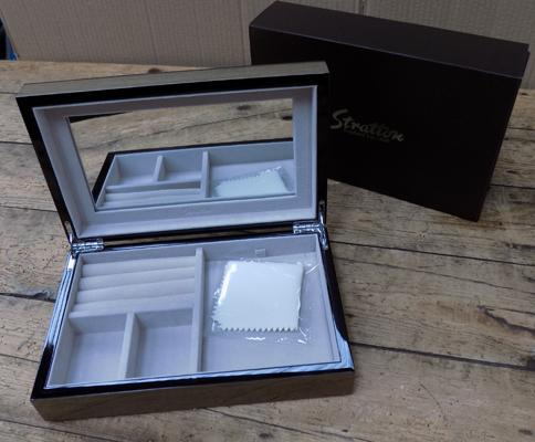 Stratton large jewellery box, high gloss walnut finish, in box