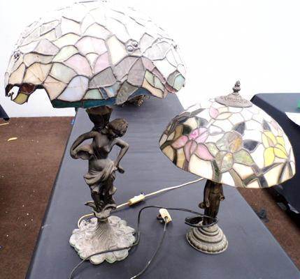 2 Tiffany style lamps, some damage