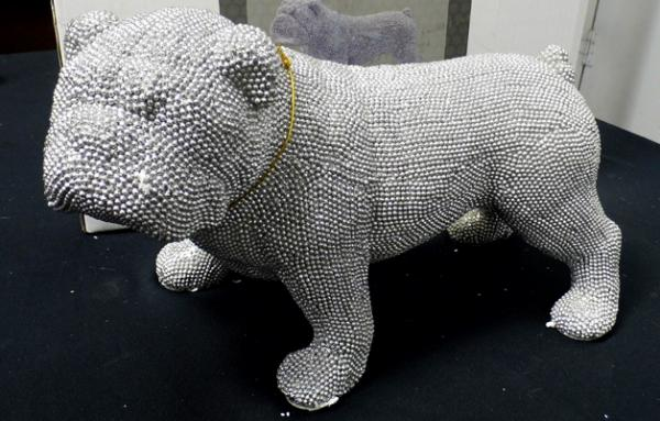 Silver art bulldog figure
