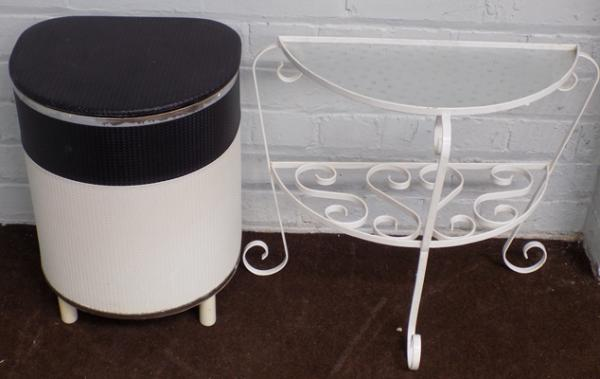 Vintage laundry bin and iron & glass shelf
