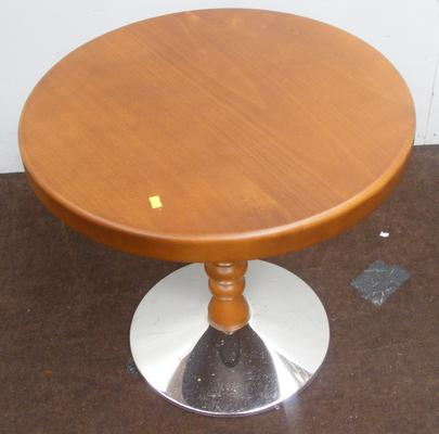 Solid beech round wooden table with chrome base
