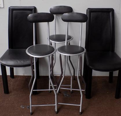 2x Black dining chairs (some damage) & 3 foldaway bar stools