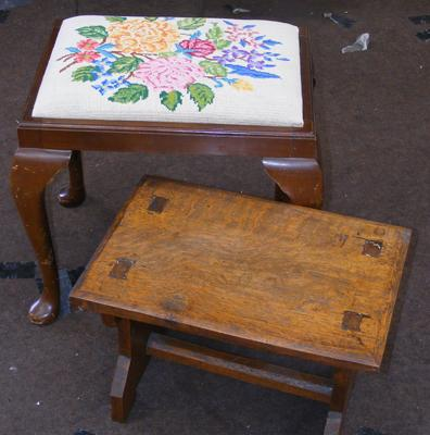 Tapestry topped dressing table stool & vintage small oak table