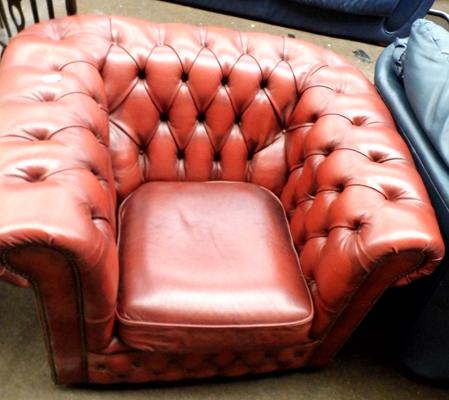 Oxblood leather Chesterfield arm chair