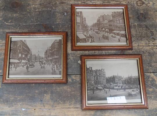 3 framed Leeds pictures, incl. City Square