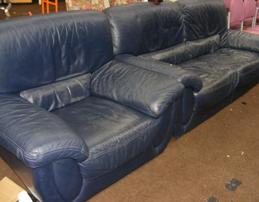 3 Seater settee & armchair in dark blue