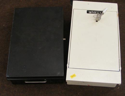 Omega floor safe & lockable cash box-both with keys