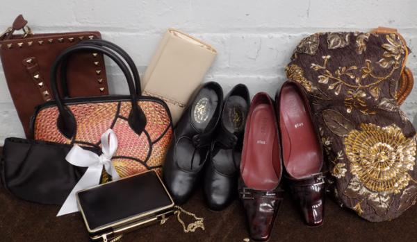 Box of vintage bags & shoes inc tap shoes