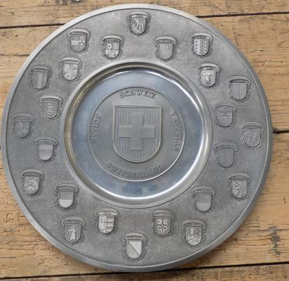 Pewter plate dipicking all the Swiss counties