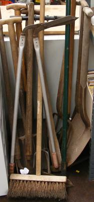 Large selection of garden tools inc spades & forks