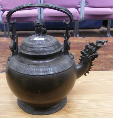 Large oriental bronze kettle
