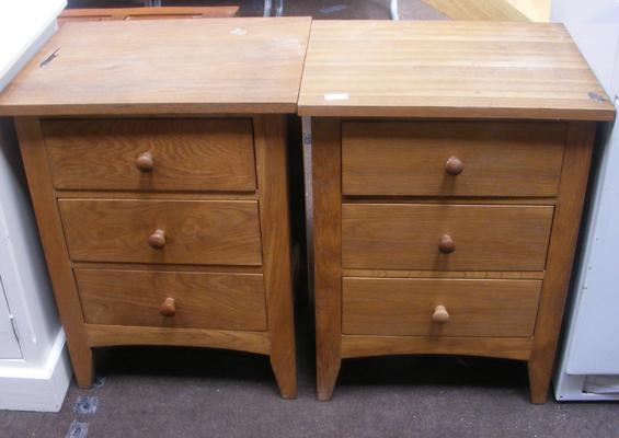 Pair of light oak bedside drawers