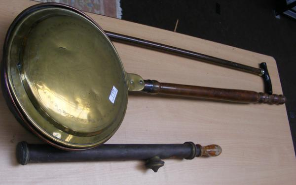 Bed warmer, brass pump & walking cane