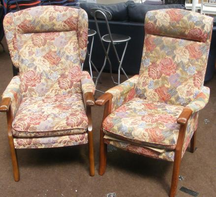 Pair of 'His & Hers' Toynson Holland fireside chairs