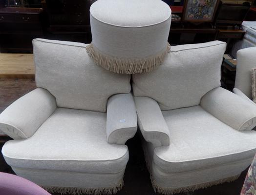 2 cream chairs + buffet