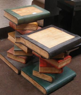 2x Wooden 'pile of books' tables