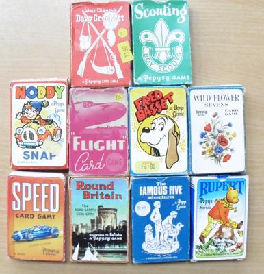 10 x 1940's Pepys Games, England, boxed  playing card sets - all different games