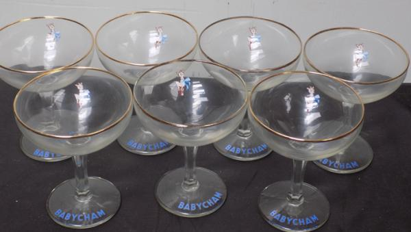 7 x Babycham glasses